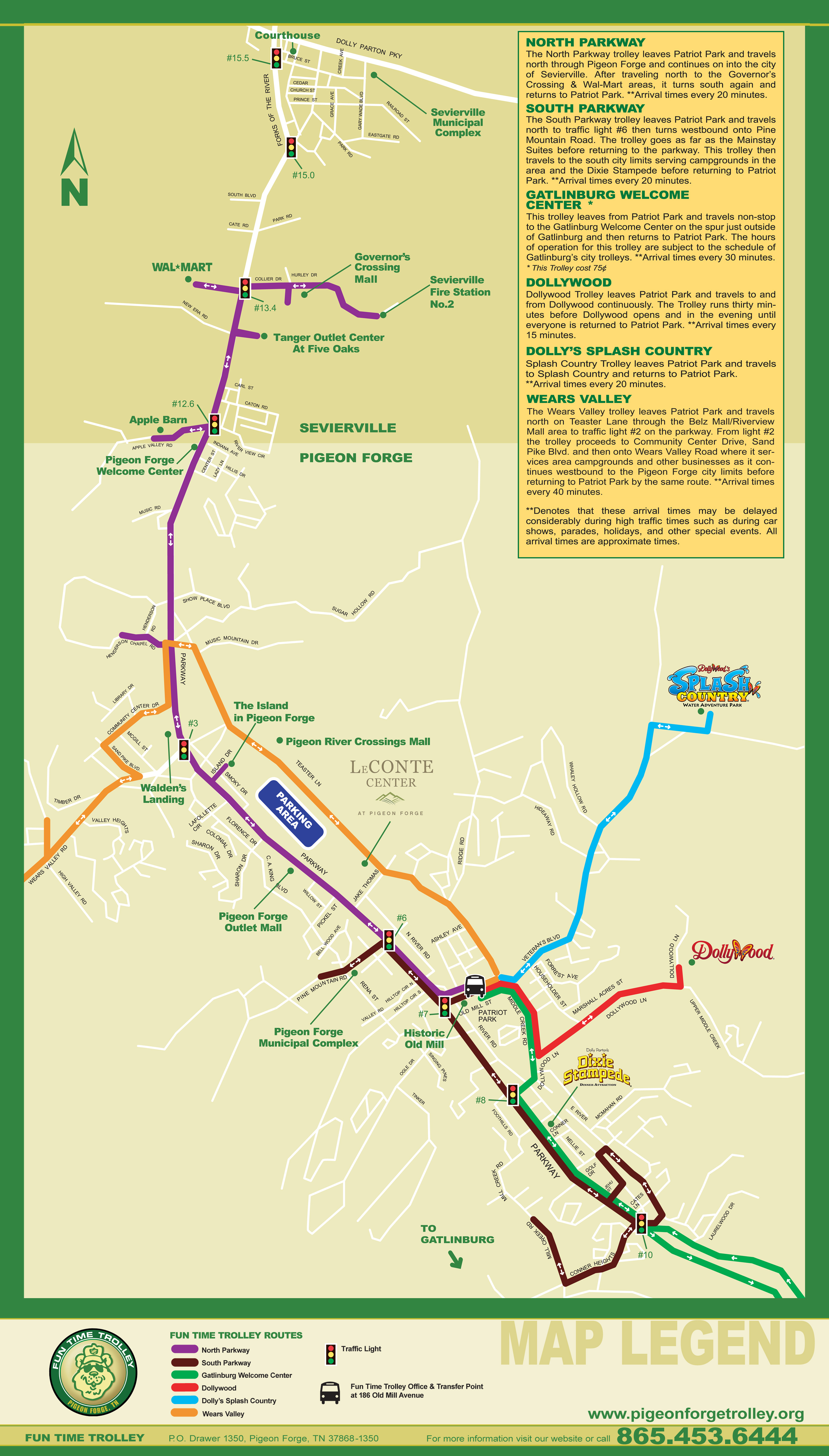 route map. city of pigeon forge tennessee